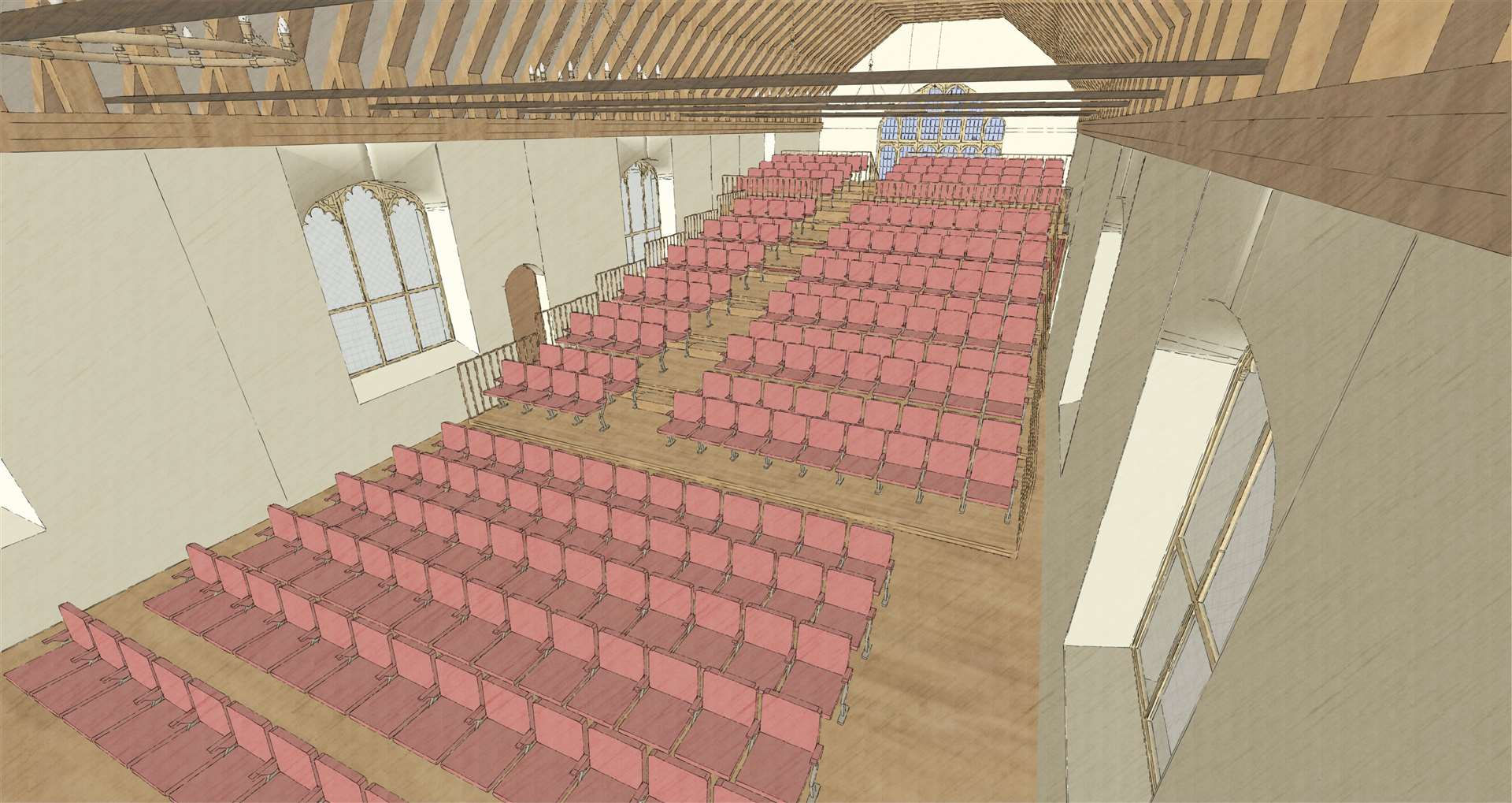 Shakespeare Guildhall Trust illustration of a possible option for the interior. (44354418)