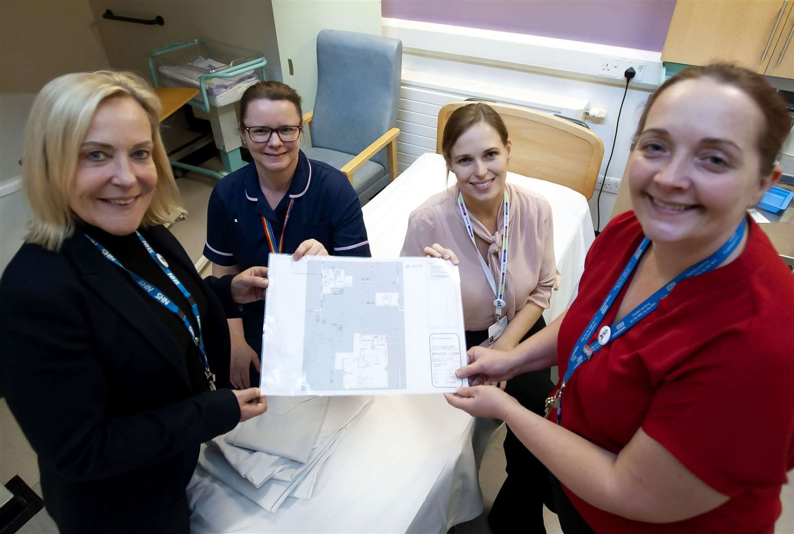 Charity of The Year Plans for the New Maternity Unit Bereavement Suit. Pictured FLtoRCaroline Shaw (Chief Executive) QEH. Sharon Young. Kathryn Owen. Kate Jackman.. (27949086)