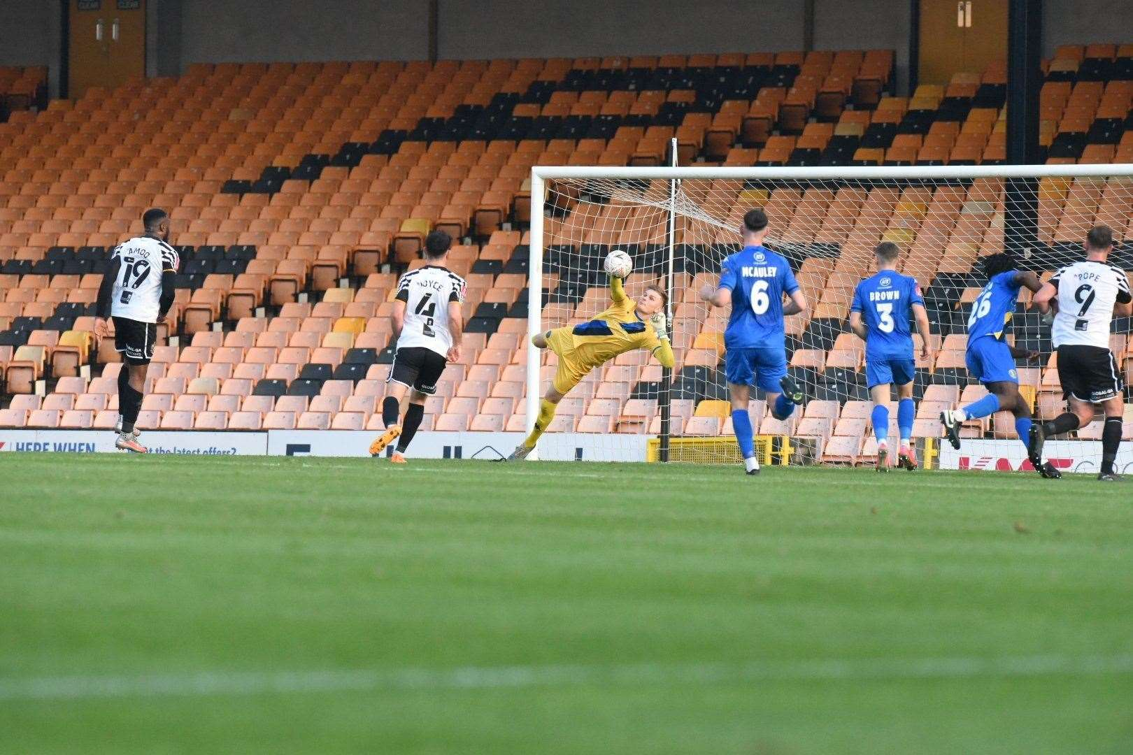 Goalkeeper Archie Mair makes a fantastic save at Vale Park. Picture: Tim Smith. (43028489)
