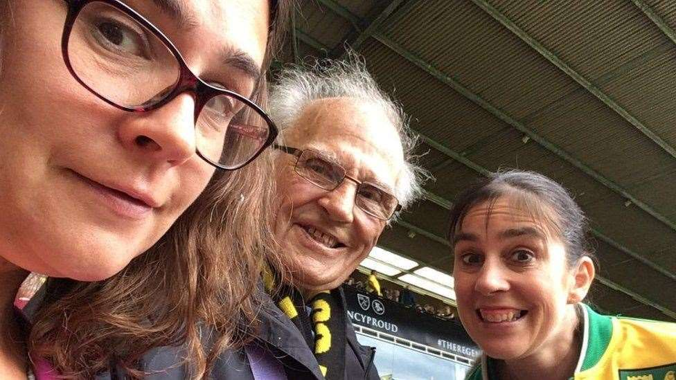 Barrie with his two daughters Jane and Sarah at Carrow Road.