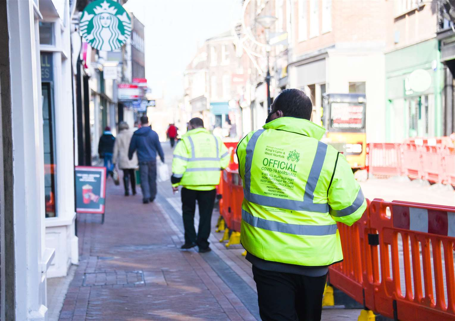 Official Covid-19 Marshalls patrolling the streets of King's Lynn Town Centre. Picture: Ian Burt. (43022892)