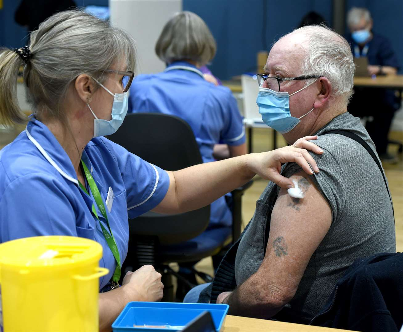 Mass Coronavirus Vaccination Centre now open at the King's Lynn Corn Exchange, Tuesday Market Place...Peter Smith having his Vaccination. (44205441)