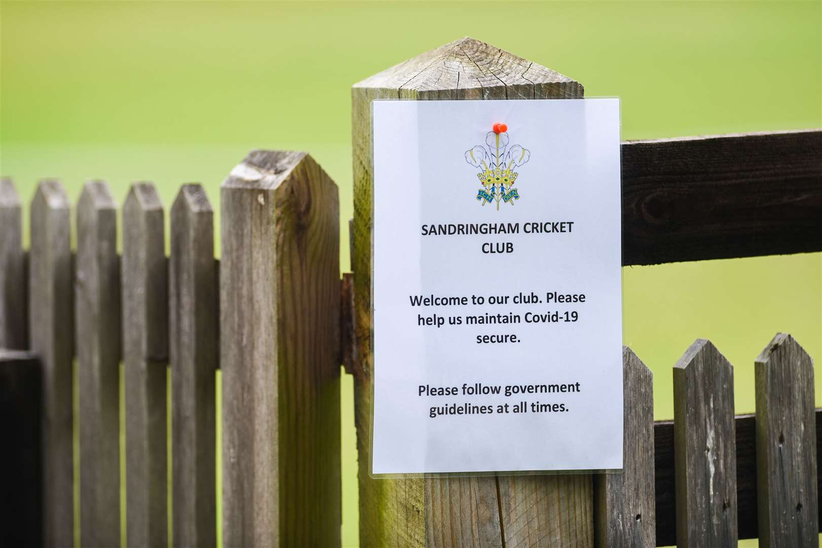 A Covid-19 safety message at Sandringham Cricket Club.. (50094336)
