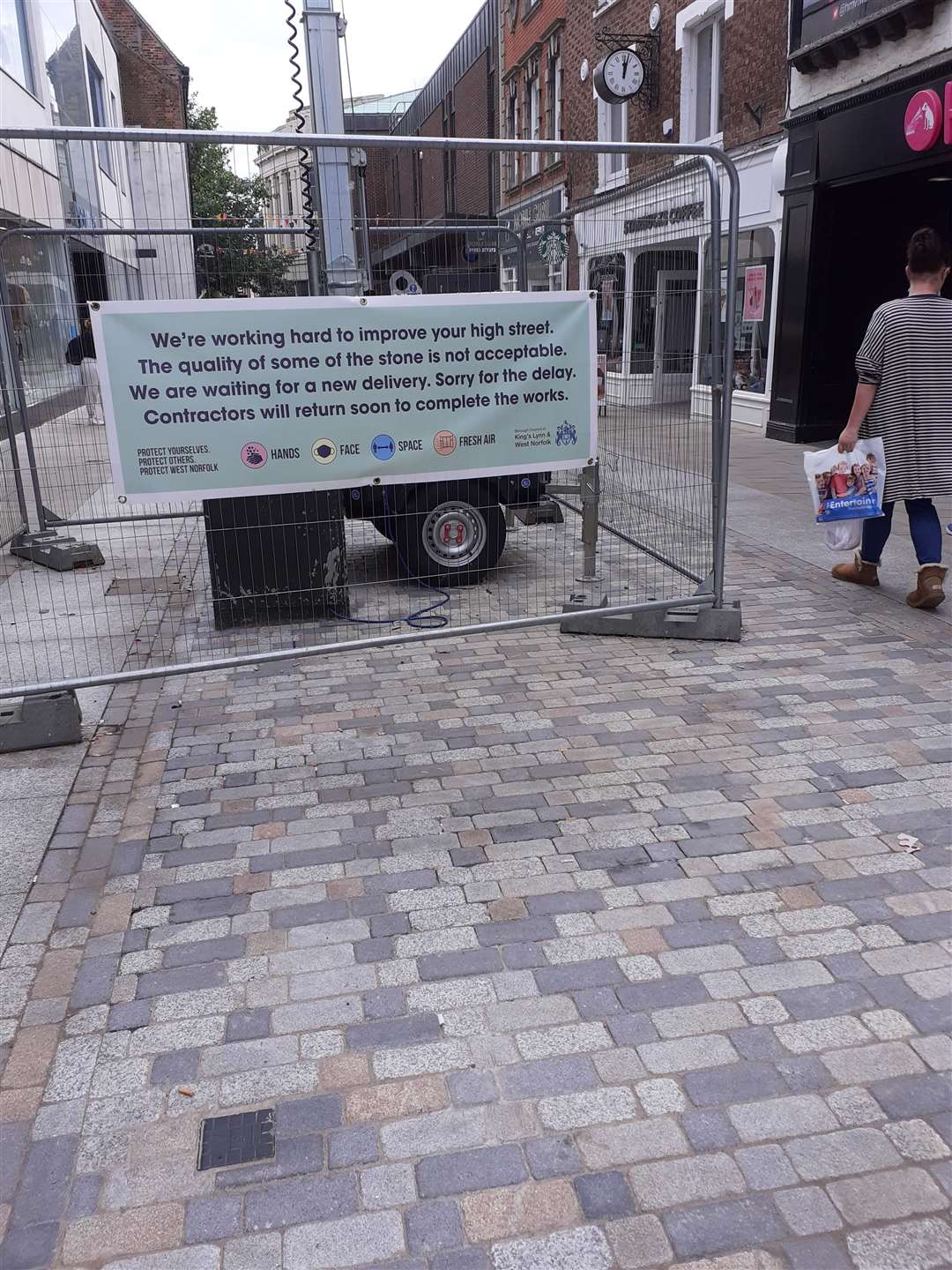 The High Street in Lynn, where there have been delays to paving work caused by the incorrect quality of stone being delivered