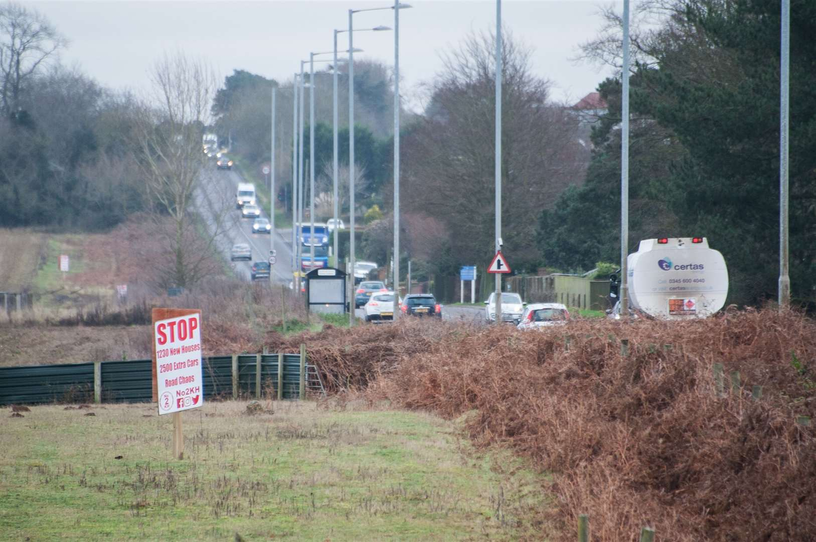 Signs in South Wootton opposing the development of 600 houses on the Knights Hill site.. (26148186)
