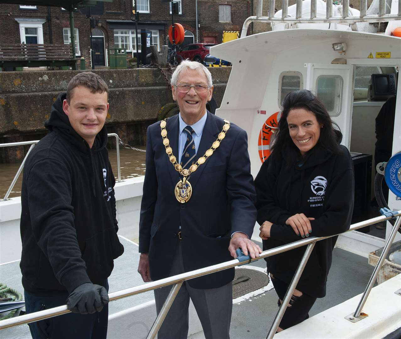 Borough Mayor Harry Humphrey, centre, met James Castleton and Rebecca Rowbotham at the recent launch of their business offering commercial fishing trips from Lynn's pontoons.
