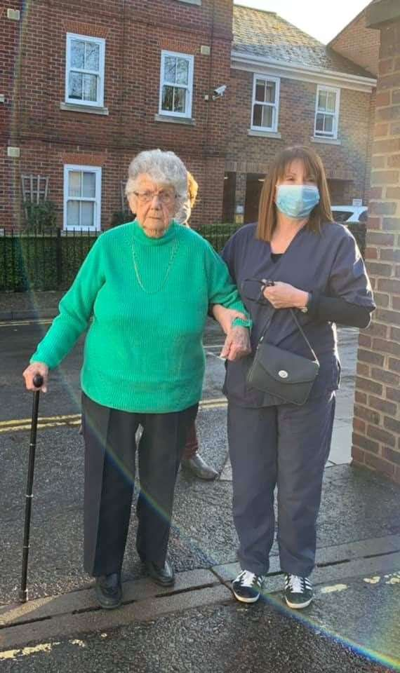 Enid Bright was one of the first to receive a vaccination this morning. Picture: St James Surgery