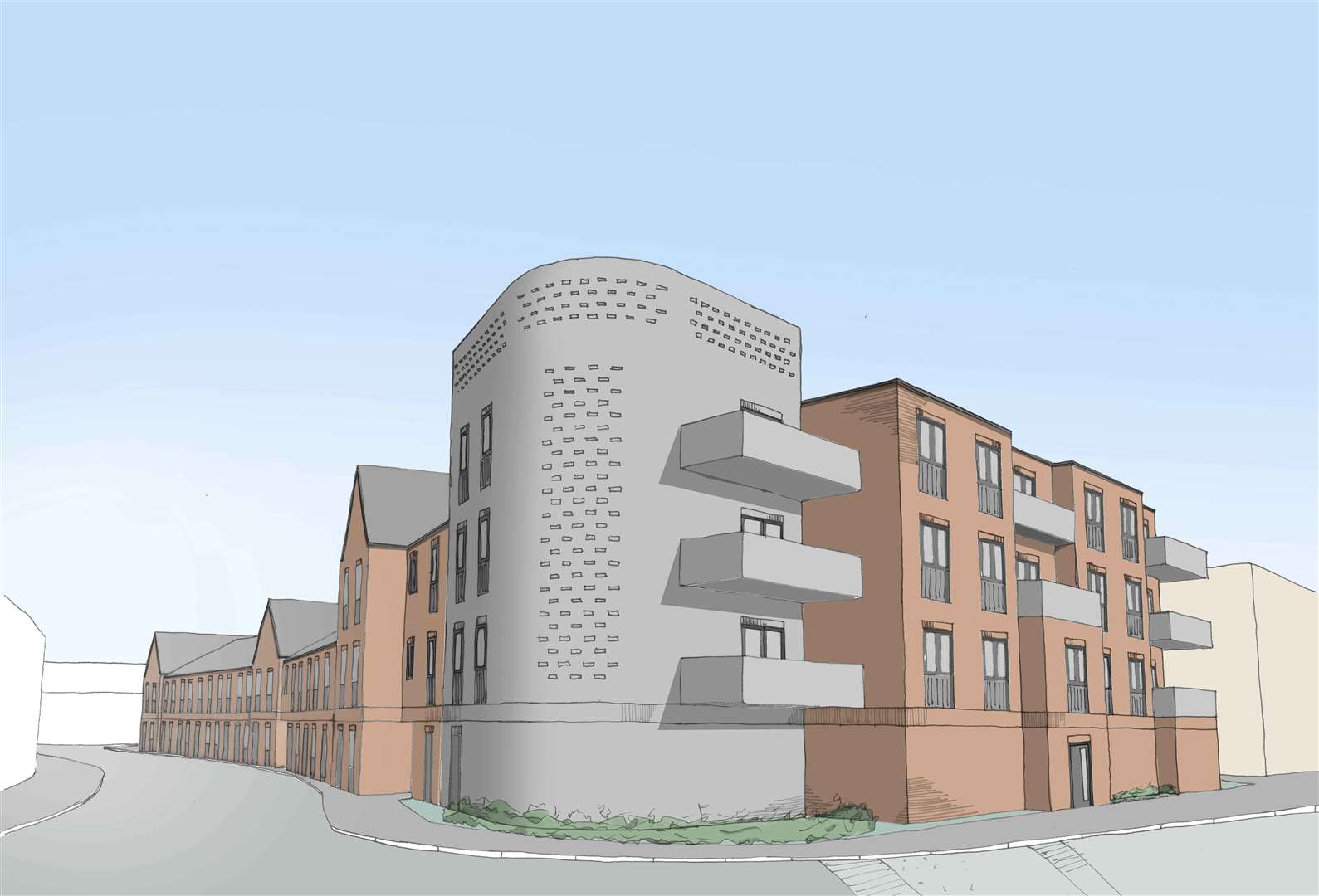 View from All Saints Street, artist impression of plans for the Hillington Square regeneration project. Picture: SUBMITTED (34954508)