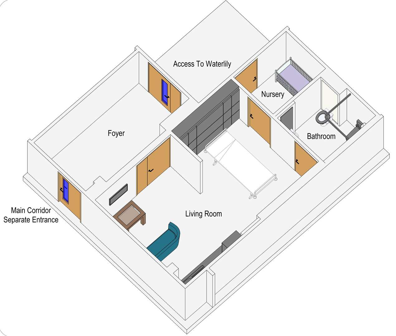 A 3D drawing of what the Maternity Bereavement Suite at the QEH could look like. Picture: SUBMITTED