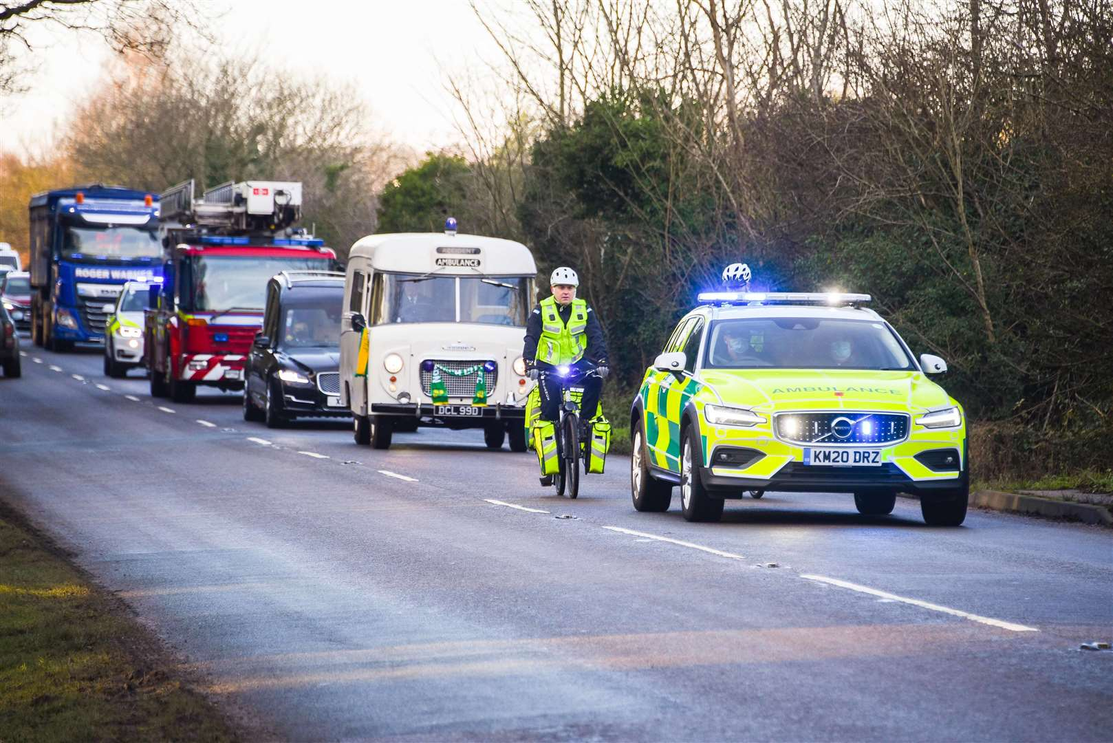The funeral cortege of Barry Jarvis, heading to Mintlyn Crematorium. Picture: Ian Burt