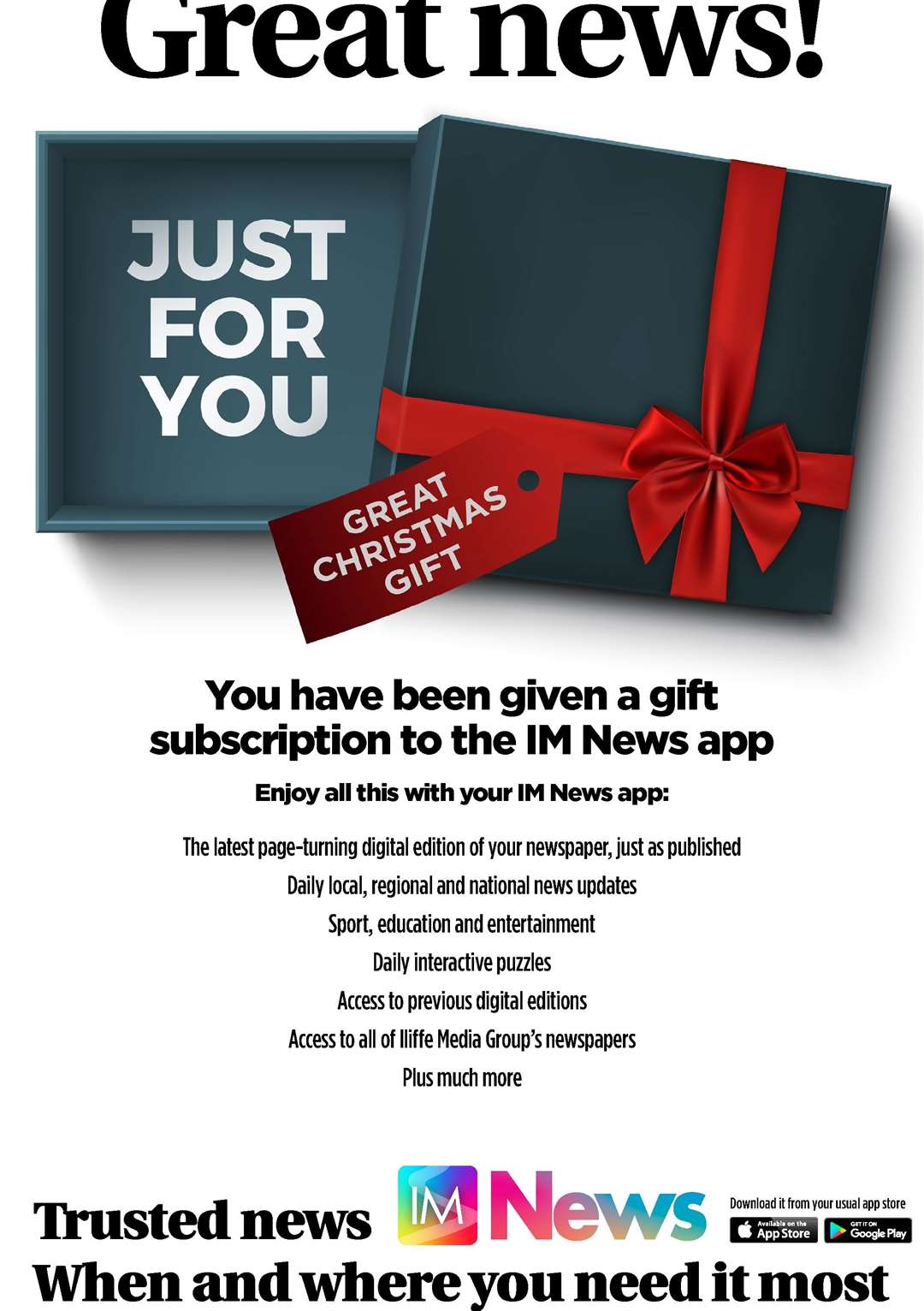 A poster for the Lynn News (Iliffe Media) app which you can subscribe to