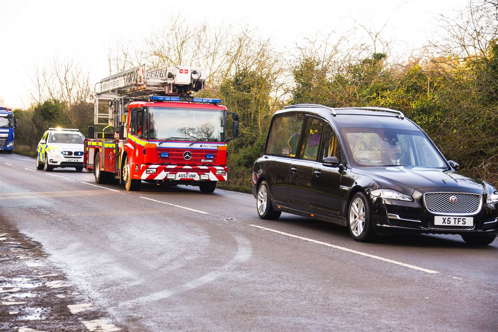 The funeral cortege of Barry Jarvis, heading to Mintlyn Crematorium. Picture: Ian Burt.