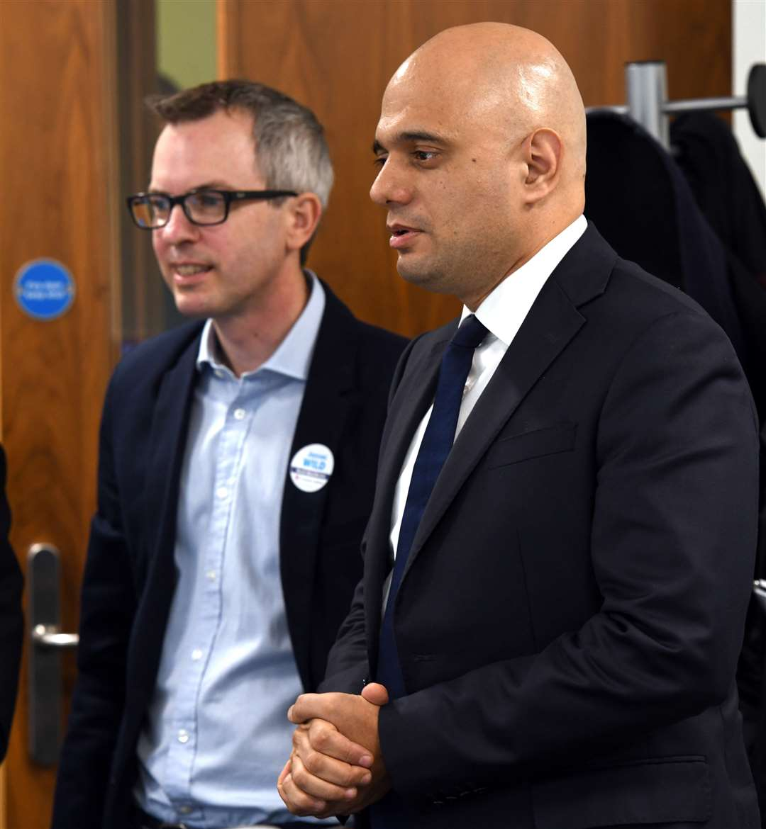 Sajid Javid with North West Norfolk MP James Wild on a visit to Lynn in 2019.