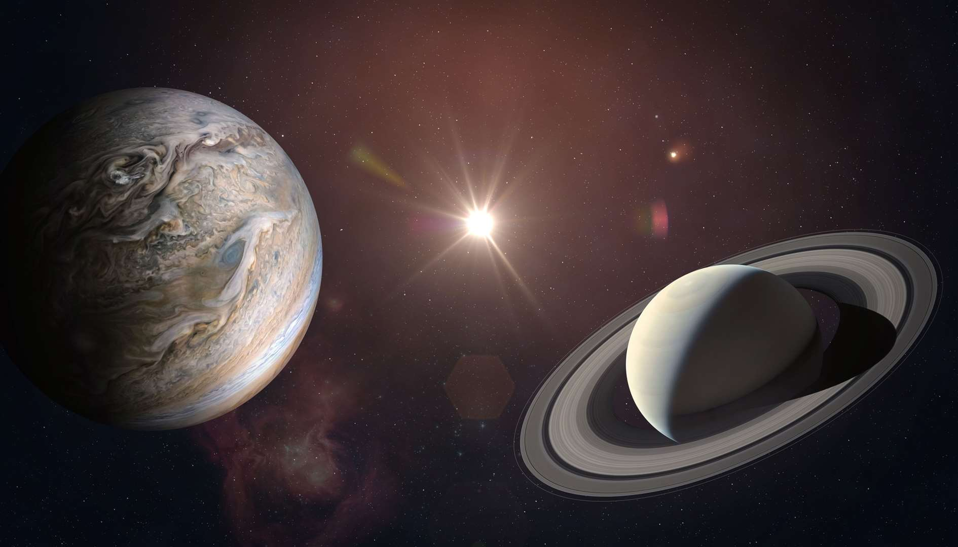 Jupiter and Saturn will appear close together as observed from Earth on December 21, 2020. Image includes elements from NASA