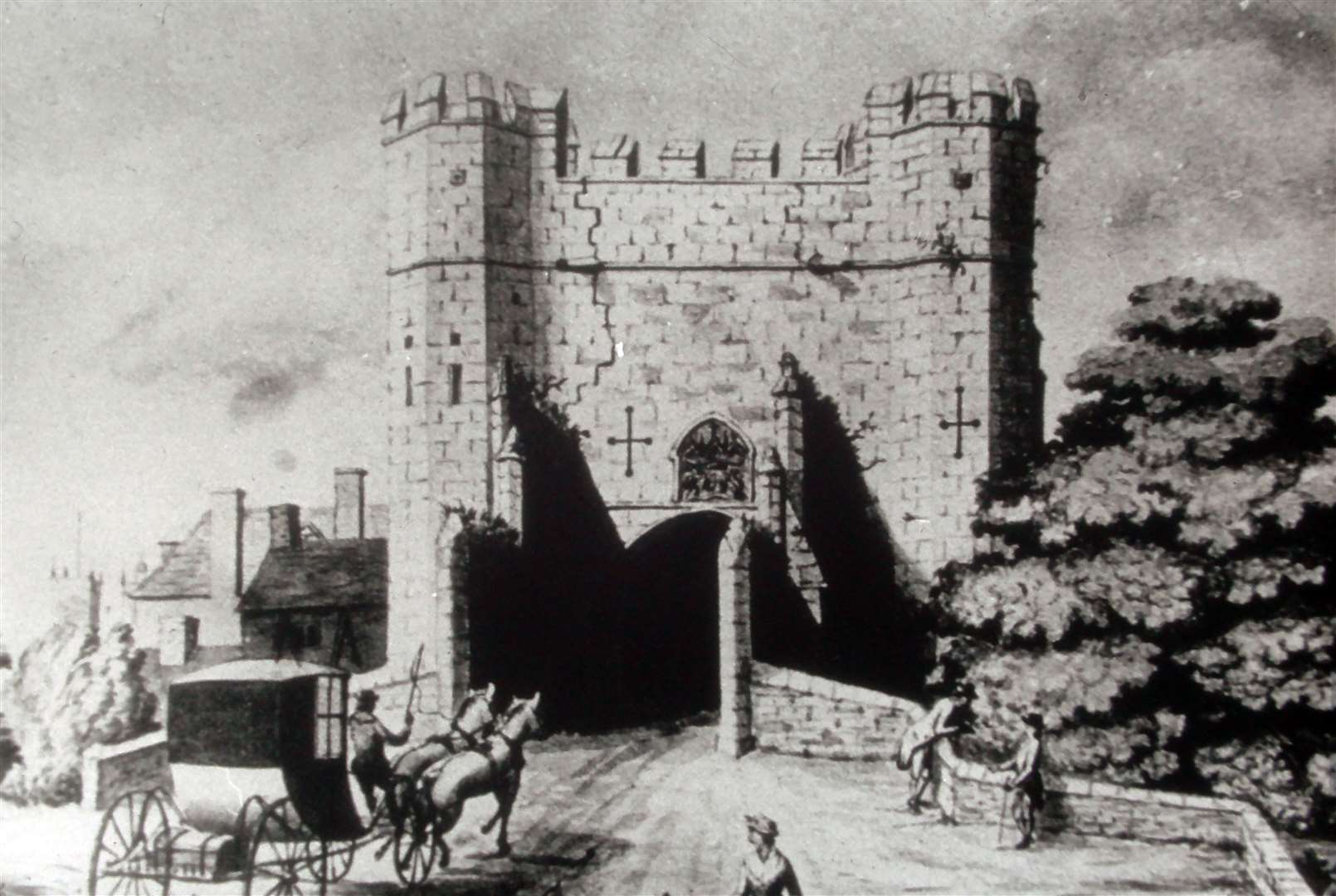 Lynn's old East Gate, shown here before it was demolished in 1800, was closed to traffic during times of plague (44398023)