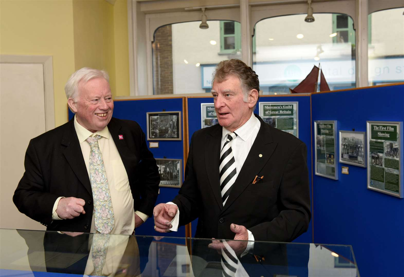 Dr Paul Richards, left, and Nipper Appleton at the opening ceremony of an exhibition on the King's Lynn Mart at True's Yard Fisherfolk Museum in 2019.