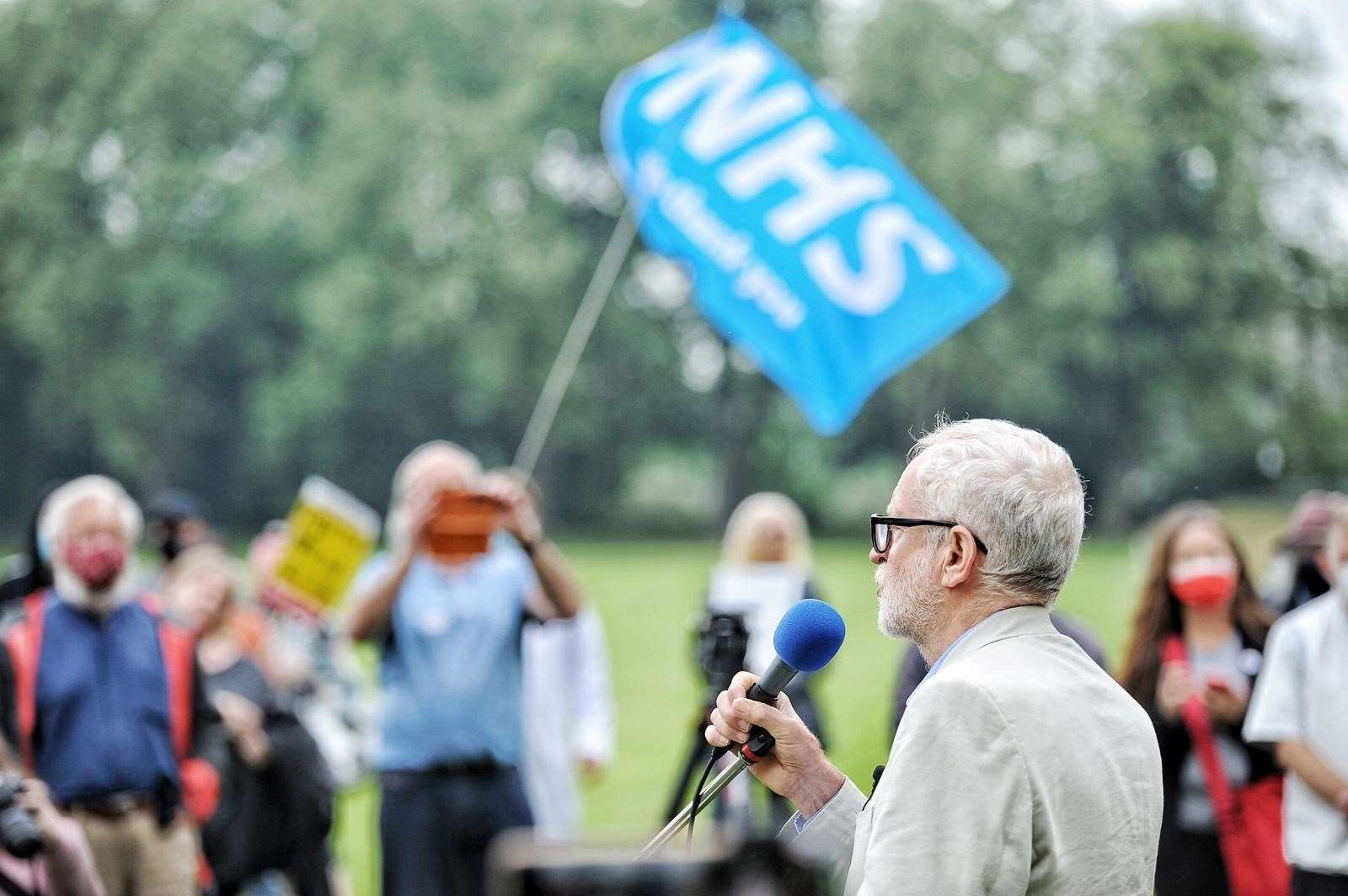 The QEH rally in the walks, Jeremy Corbyn visits Lynn to talk about the NHS social care system and the QEH CREDIT Ian Burt (48855116)