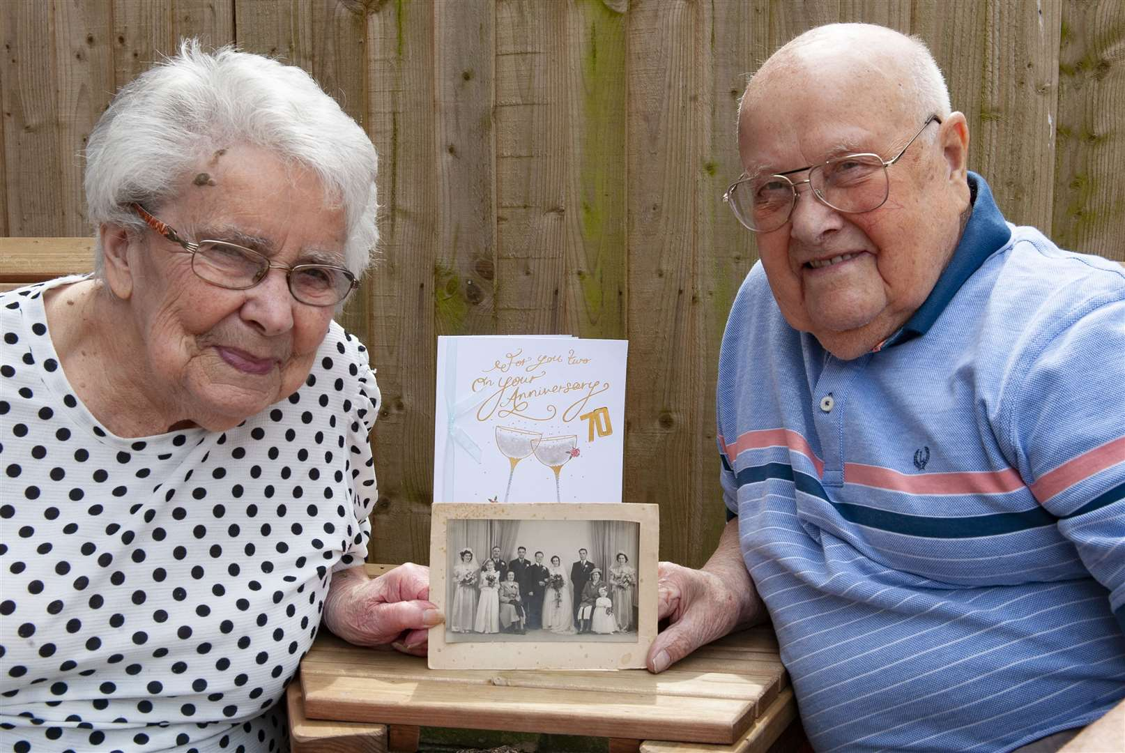 Celerbrating their 70th Wedding Anniversary . Pictured Albert Patrick English ( Pat) with his wife Evelyn Mary English (Eve) at their home in King's Lynn.. (46520541)