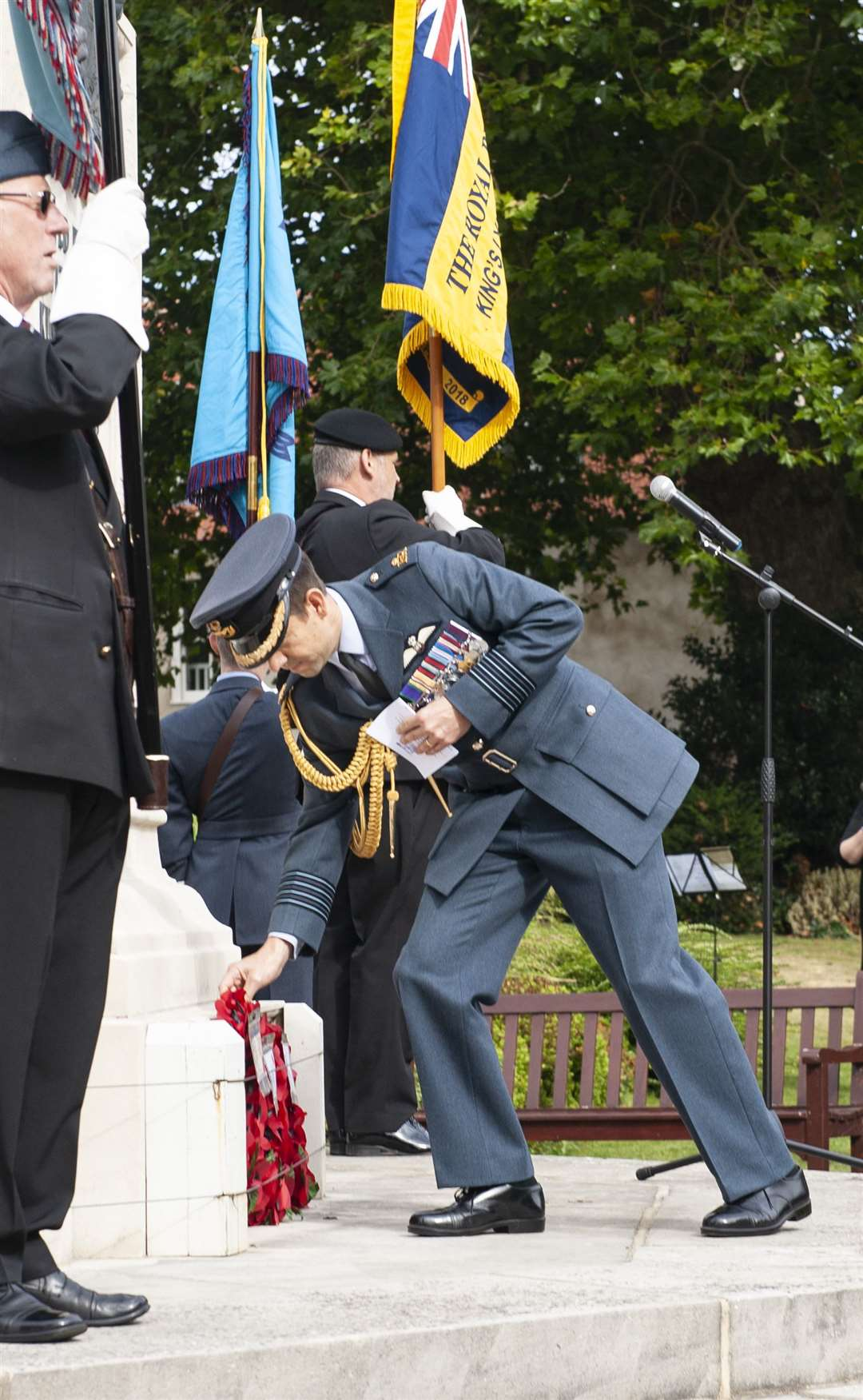 Royal Air Forces Association 81st Anniversary of the Battle Of Britain Service of Commemoration. at Tower Gardens King's Lynn..Pictured Gp Capt Phil Marr RAF Station Commander RAF Marham.. (51174930)