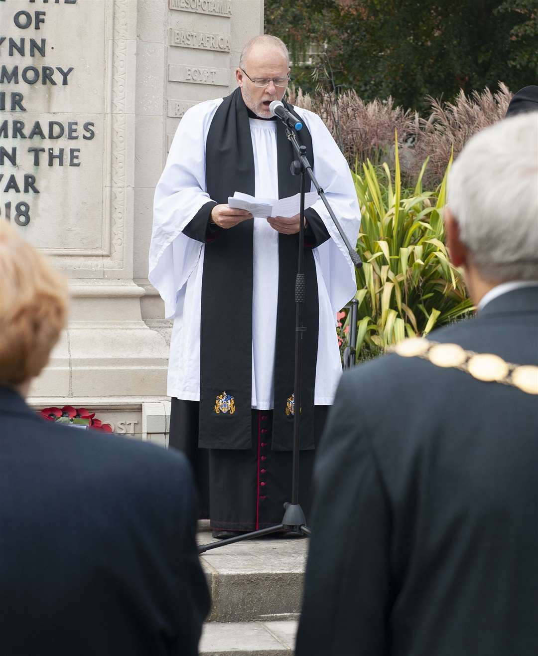 Royal Air Forces Association 81st Anniversary of the Battle Of Britain Service of Commemoration. at Tower Gardens King's Lynn. Pictured Father Adrian Ling.. (51174909)