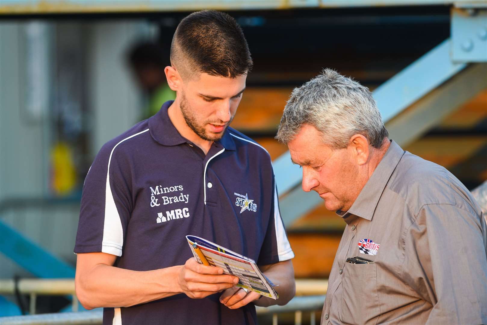 Buster Chapman, seen here, right, with Stars boss Alex Brady at a recent meeting, said he was 'done' with speedway after tonight's late postponement