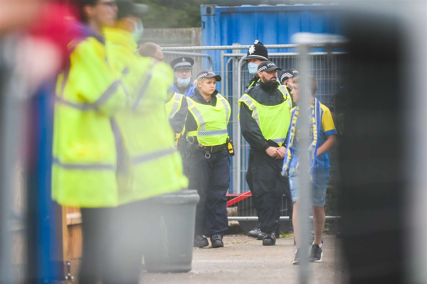 A Police presence was seen inside the ground. (50455870)