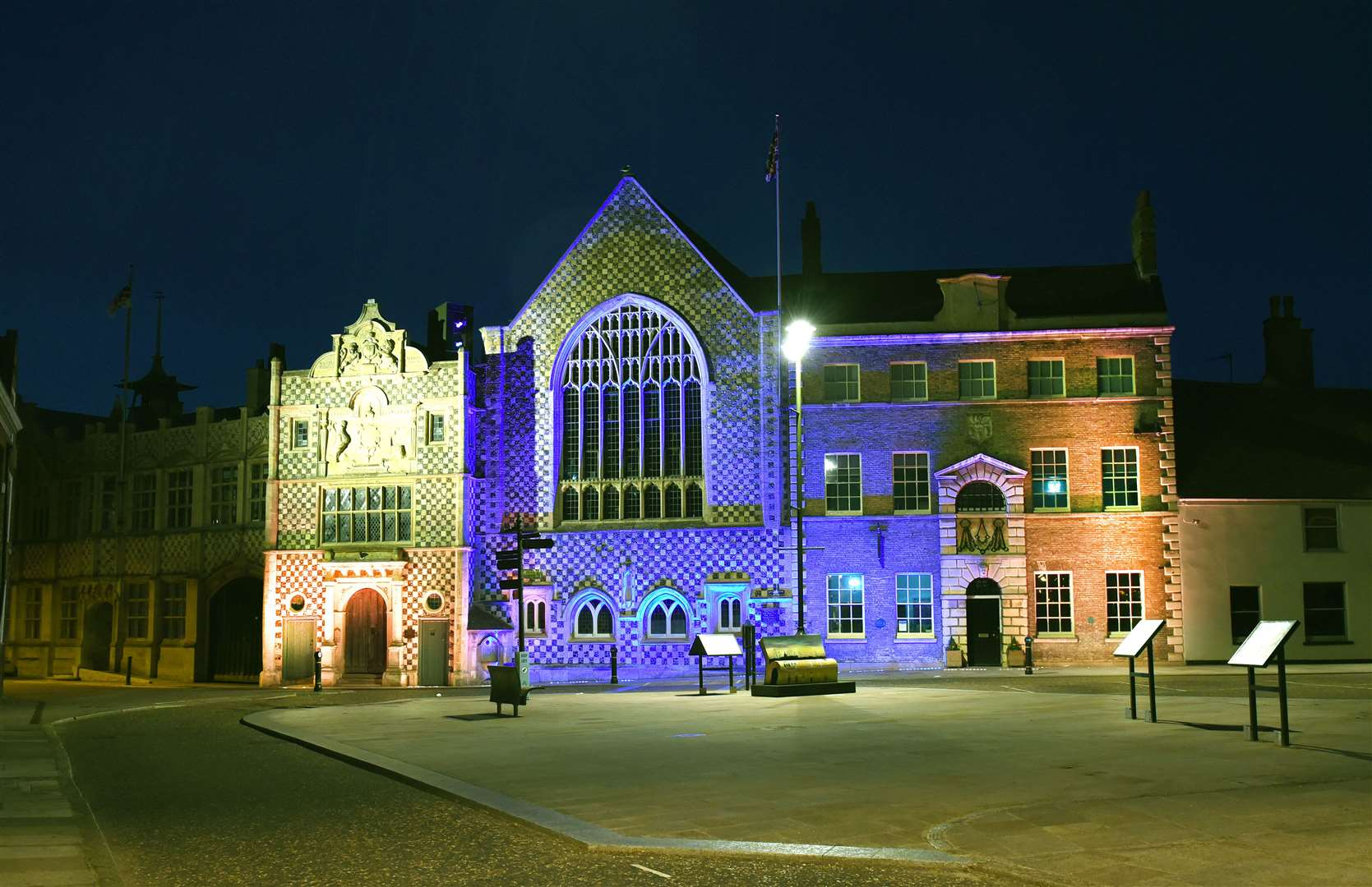 King's Lynn Town Hall lit up in blue and orange for the Motor Neurone Disease Association, marking MND Global Awareness Day (48451939)