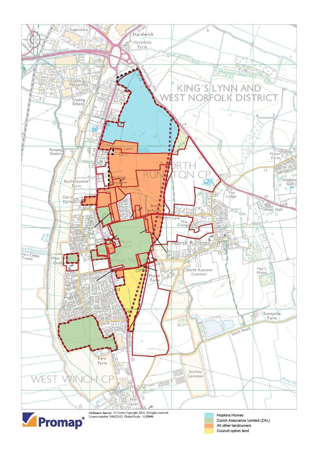 This map shows the different parts of the South East King's Lynn Strategic Growth Area, (43304357)