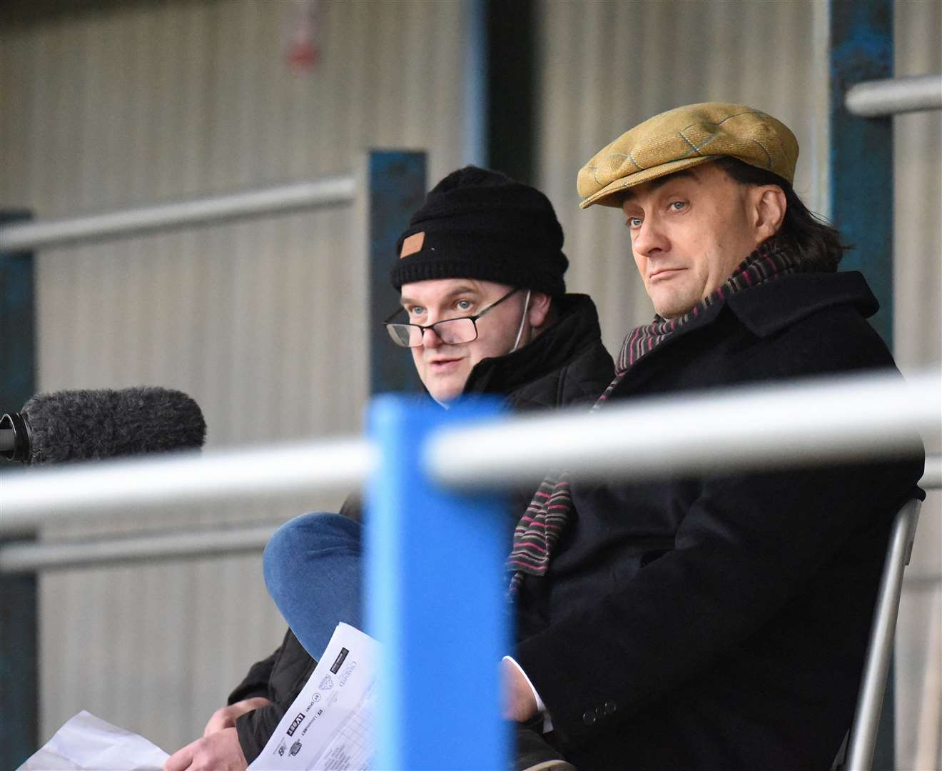 Mark Hearle and Linnets chairman Stephen Cleeve commentating on the live stream. Picture: Tim Smith. (44199805)