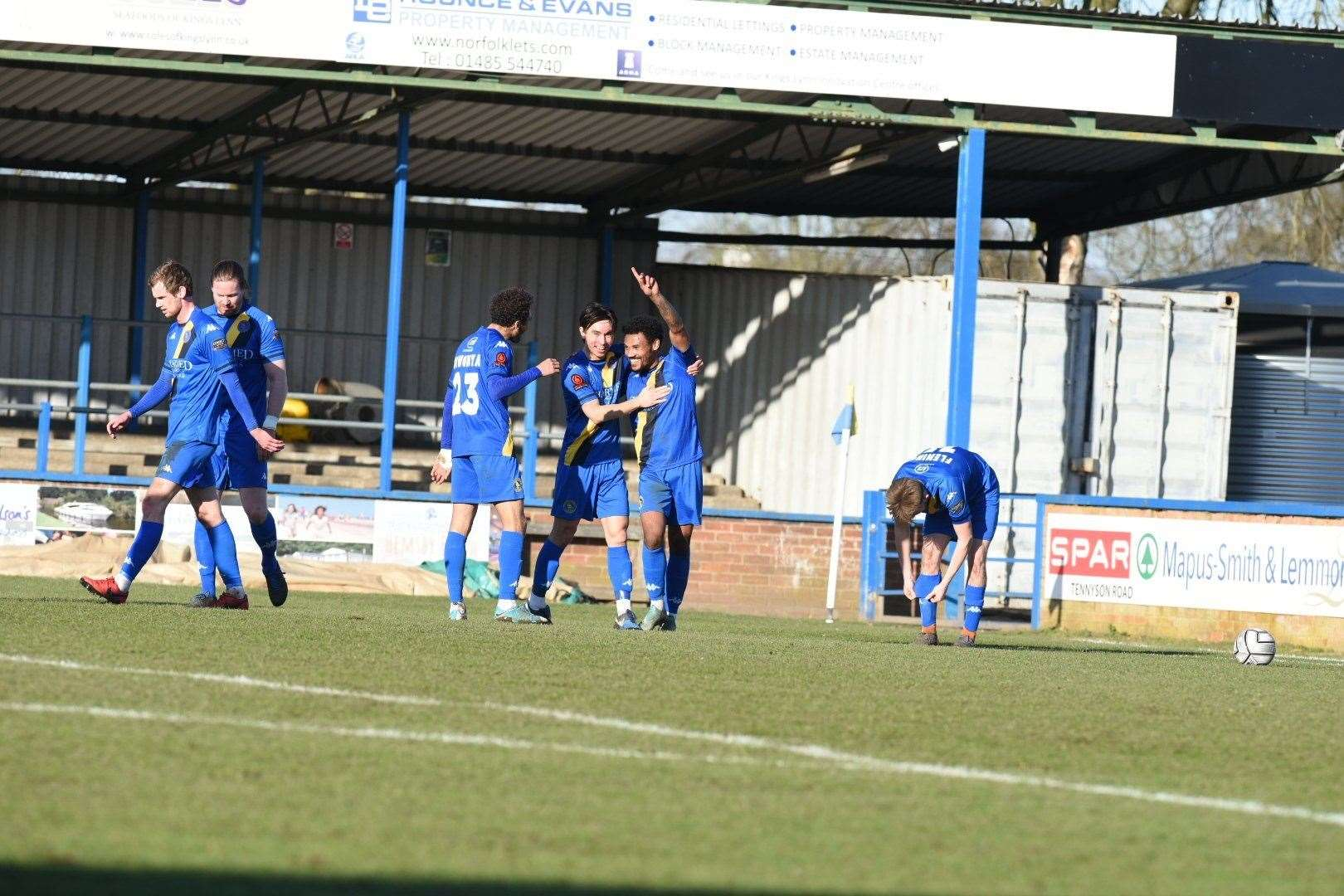 Tyler Denton after scoring his first goal in a Lynn shirt. Picture: Tim Smith. (44696524)
