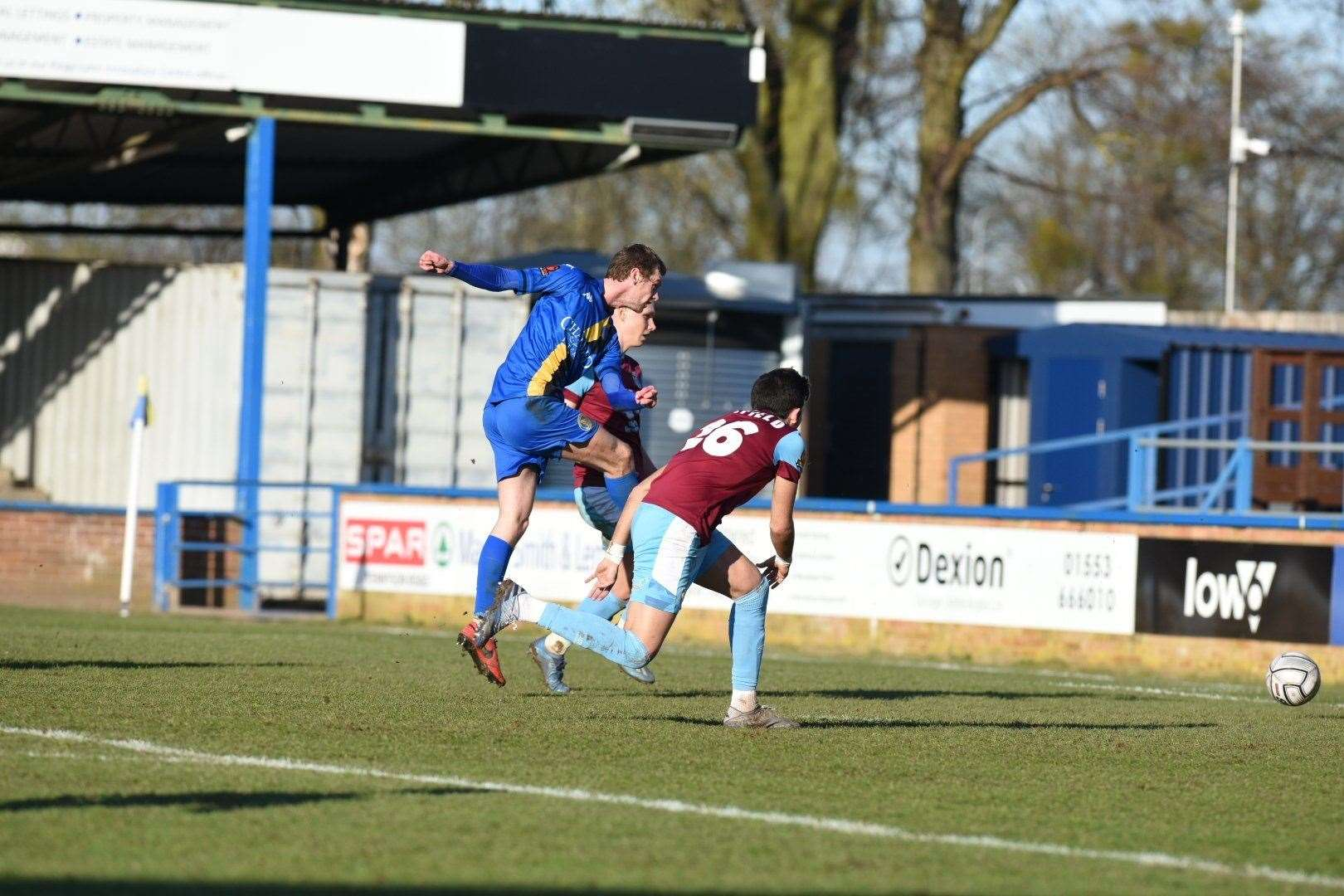 Lynn's Cameron King equalises for the home side. Picture: Tim Smith. (44696520)