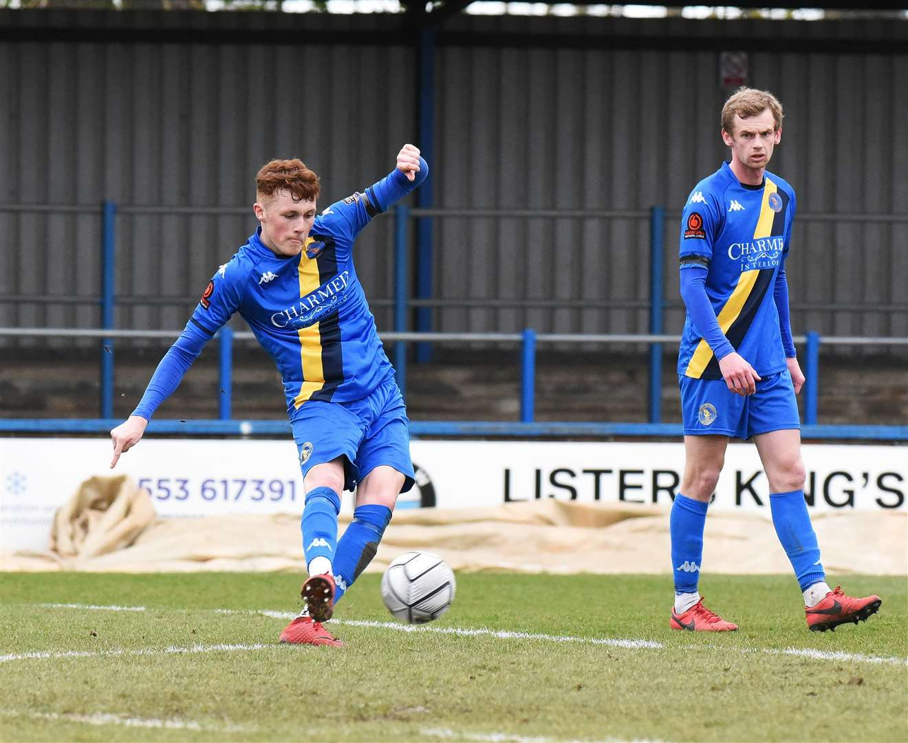 Sonny Carey fires King's Lynn Town in front against Chesterfield with fellow midfielder Cameron King watching on.Picture: Tim Smith. (46051029)