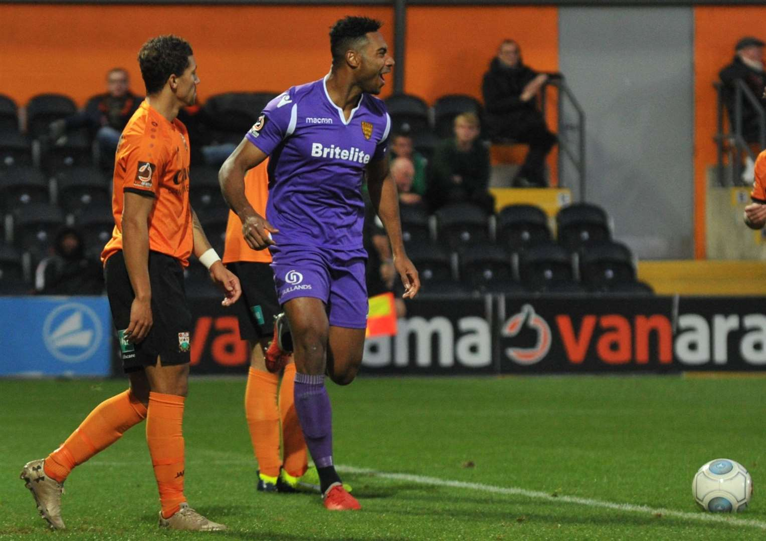 Gold Omotayo celebrates his goal at Barnet for Maidstone United. Picture: Steve Terrell (48887717)
