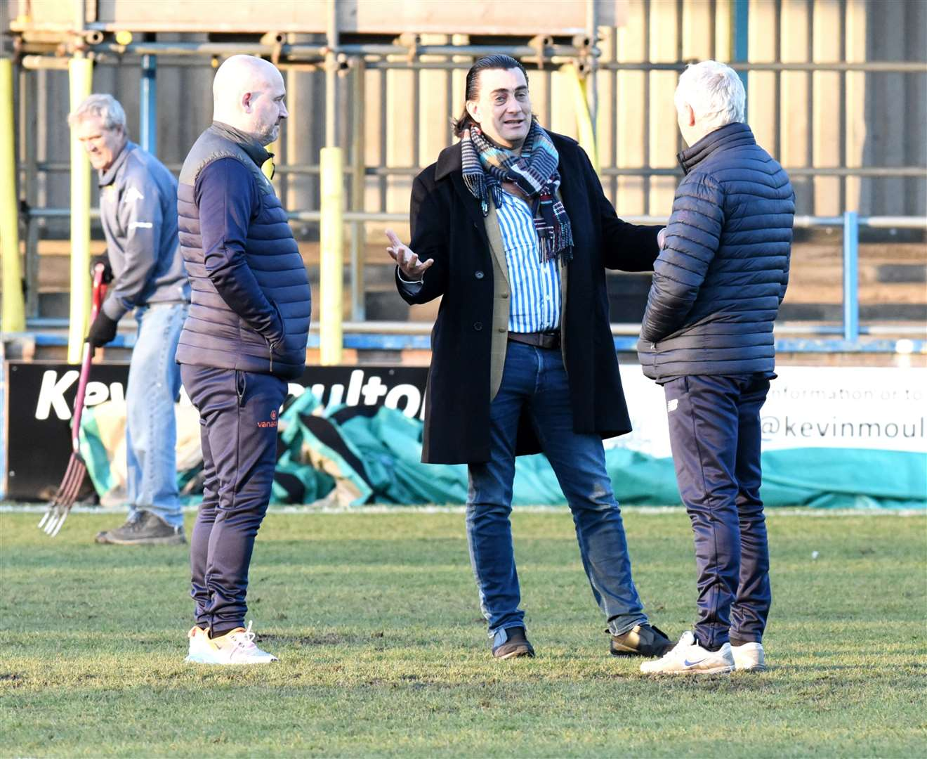 Linnets chairman Stephen Cleeve, centre, flanked by director of football Robbie Back and manager Ian Culverhouse after Saturday's 2-2 draw against Weymouth at The Walks. (44737617)