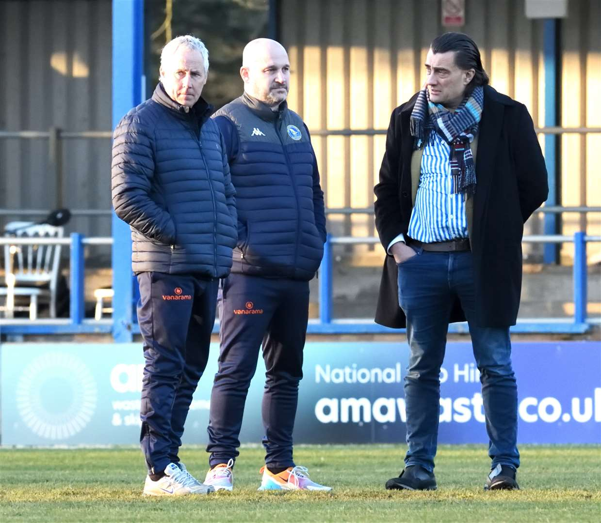 Manager Ian Culverhouse, director of football Robbie Back and chairman Stephen Cleeve. Picture: Tim Smith. (44737620)