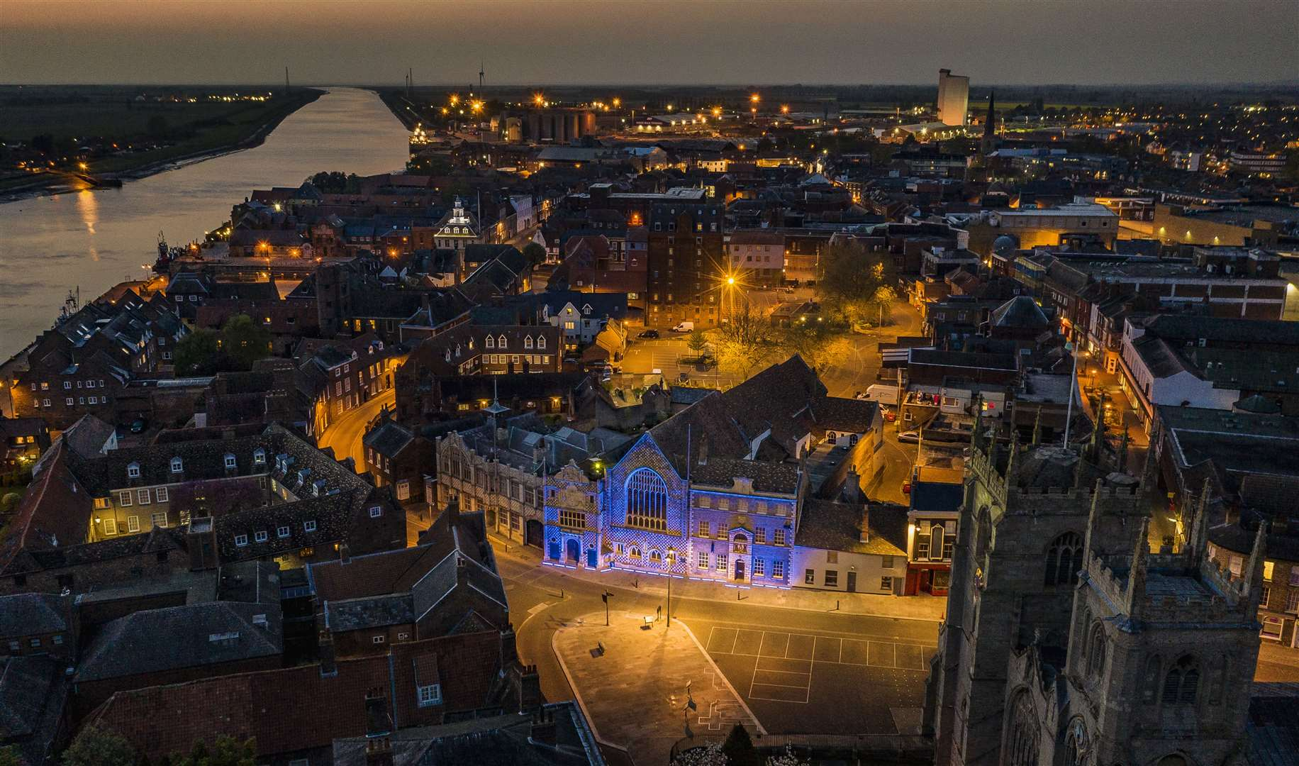 Lynn Town hall was previously lit up blue for the NHS. Picture: Matthew Usher.