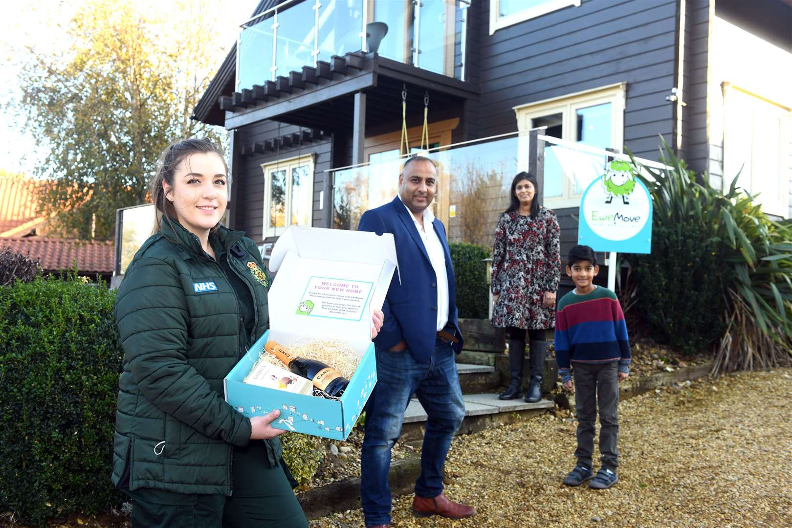 Estate Agent Pardip Choat is giving a free 1 month rental of a holiday let to NHS ambulance staff Bethanie Hutchison at Petney Lakes. Bethanie Hutchinson is pictured at the front with back left to right Pardip Choat, Panna Choat and Kian Choat 6. Picture: Adam Fairbrother