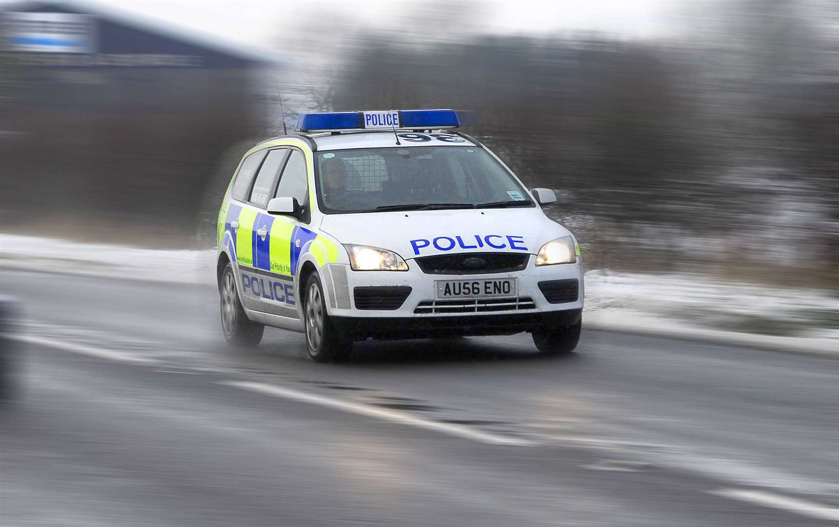 Stock picture of a Norfolk Constabulary police car driving to an incident.. (43927760)