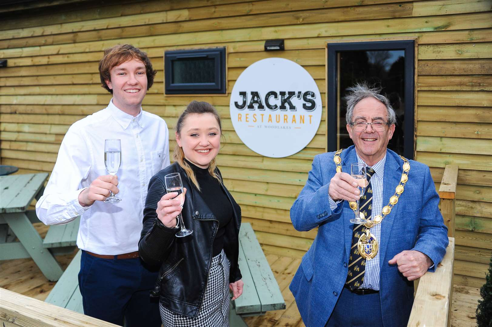 The official opening of Jack's Restaurant in Stowbridge. Pictured with Borough Mayor Geoff Hipperson are Jack Langford and Chelsea Marsh.. (30860216)