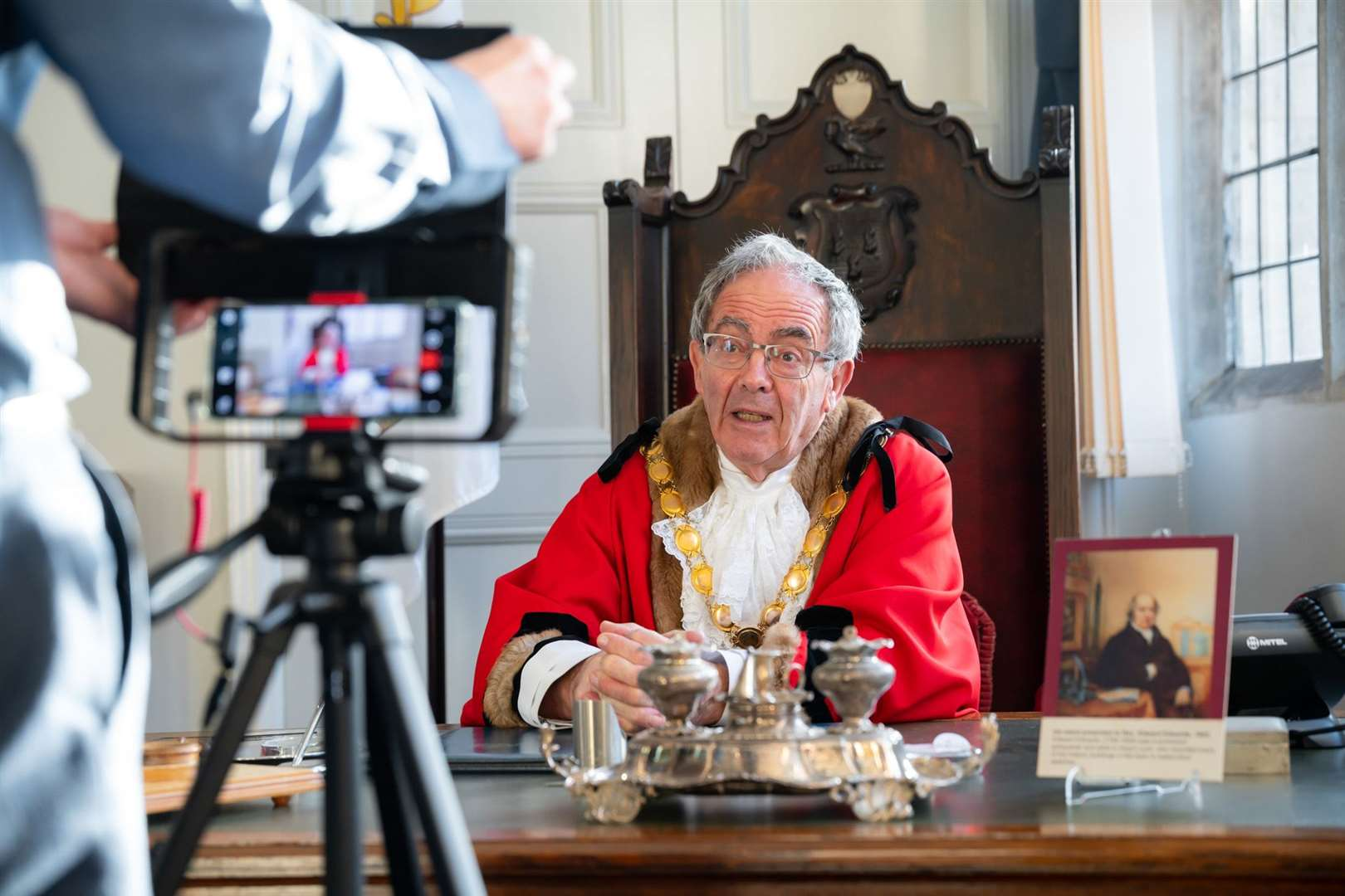 Mayor Geoff Hipperson, recorded his Christmas message from the Mayor's Parlour at the Town Hall in King's Lynn. Picture: Ian Burt