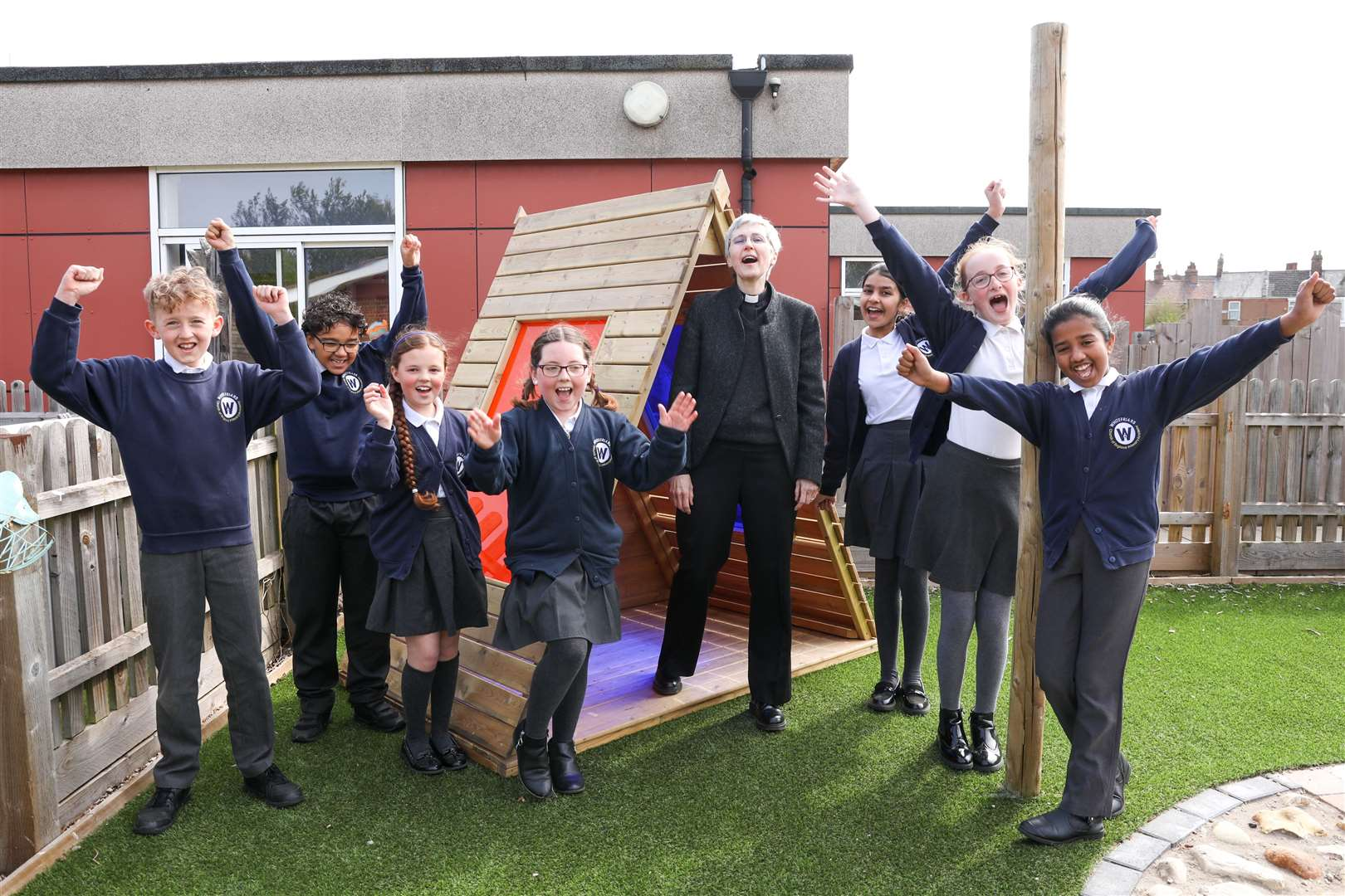 Celebrating a first - Dr Jane Steen with Whitefriars Primary pupils on the day her appointment as the new Bishop of Lynn was announced in April.