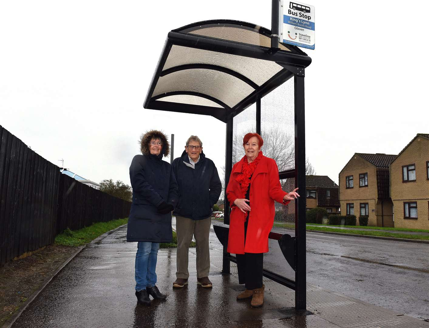 New Bus Shelter now installed on William Booth Road (Opposite Minster Court) Fairstead Estate King's Lynn...Borough Councillor for Fairstead Ward Maragaret Wilkinson (right), at the new Bus Shelter, along with Minster Court Residents and Bus stop users, .May Eastwood and Syd Yelland.. (43397059)