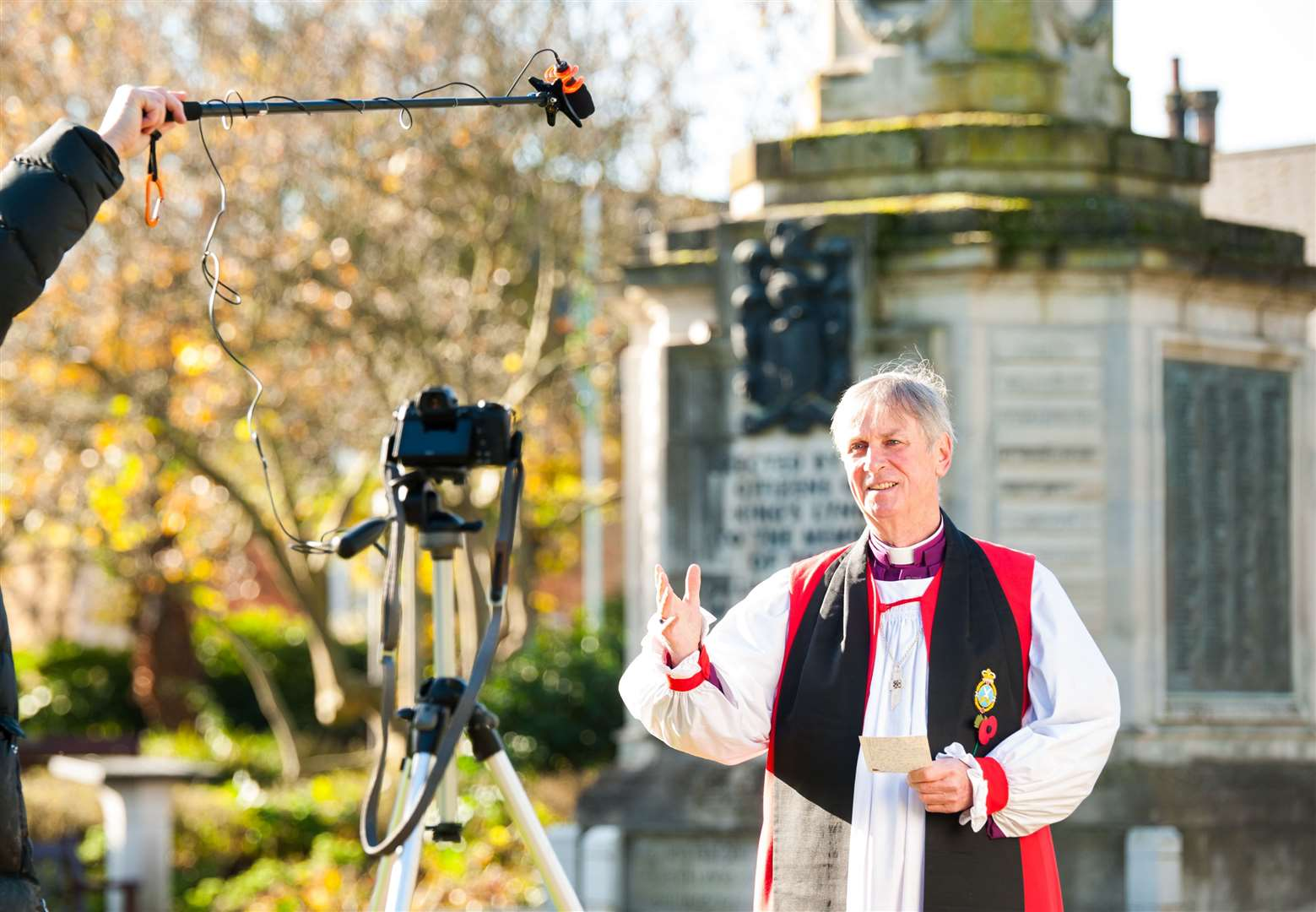 The Bishop of Lynn pre-recorded his Remembrance Sunday sermon at the Tower Gardens in King's Lynn this year. Picture: Ian Burt