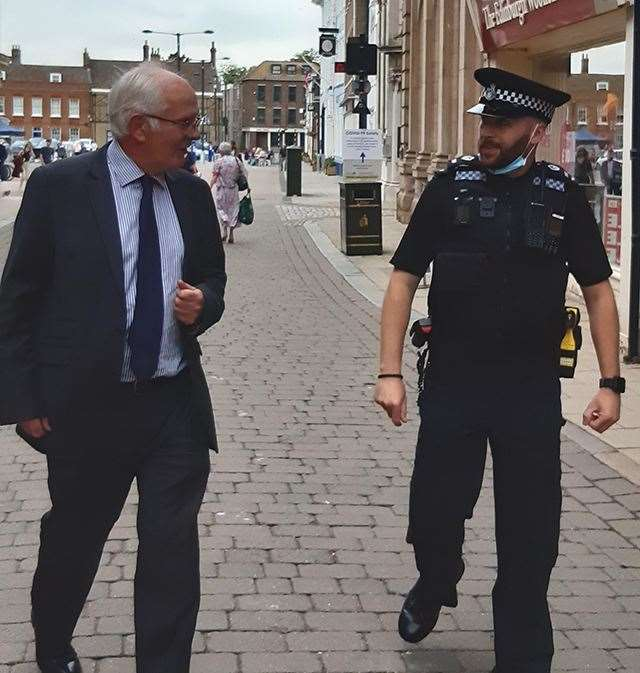 Norfolk Police and Crime Commissioner Giles Orpen-Smellie on patrol in Lynn with local beat manager PC Mike Hopkins (48363642)