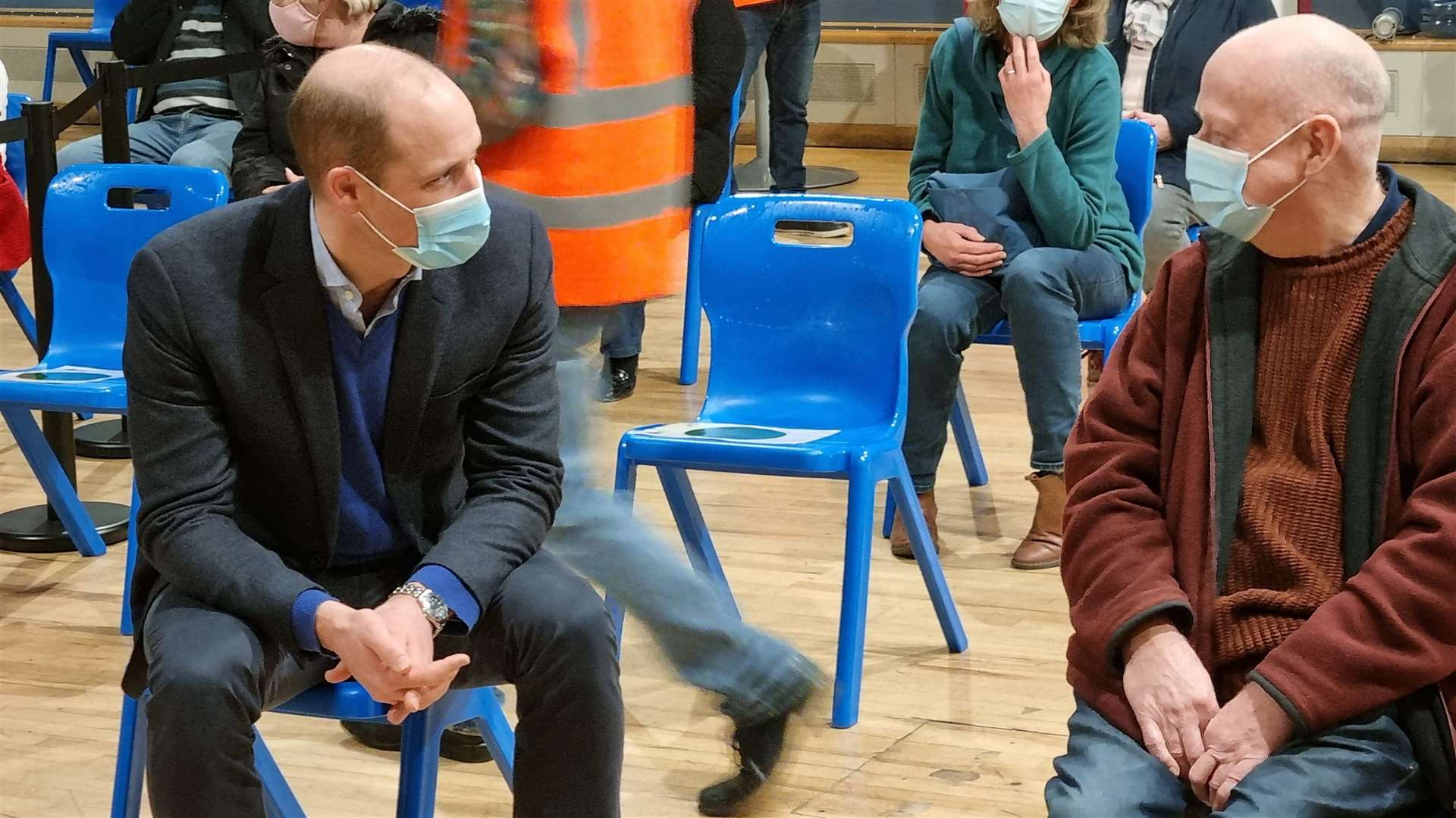 The Duke of Cambridge with one of the patients receiving a Covid vaccination today. (44524333)