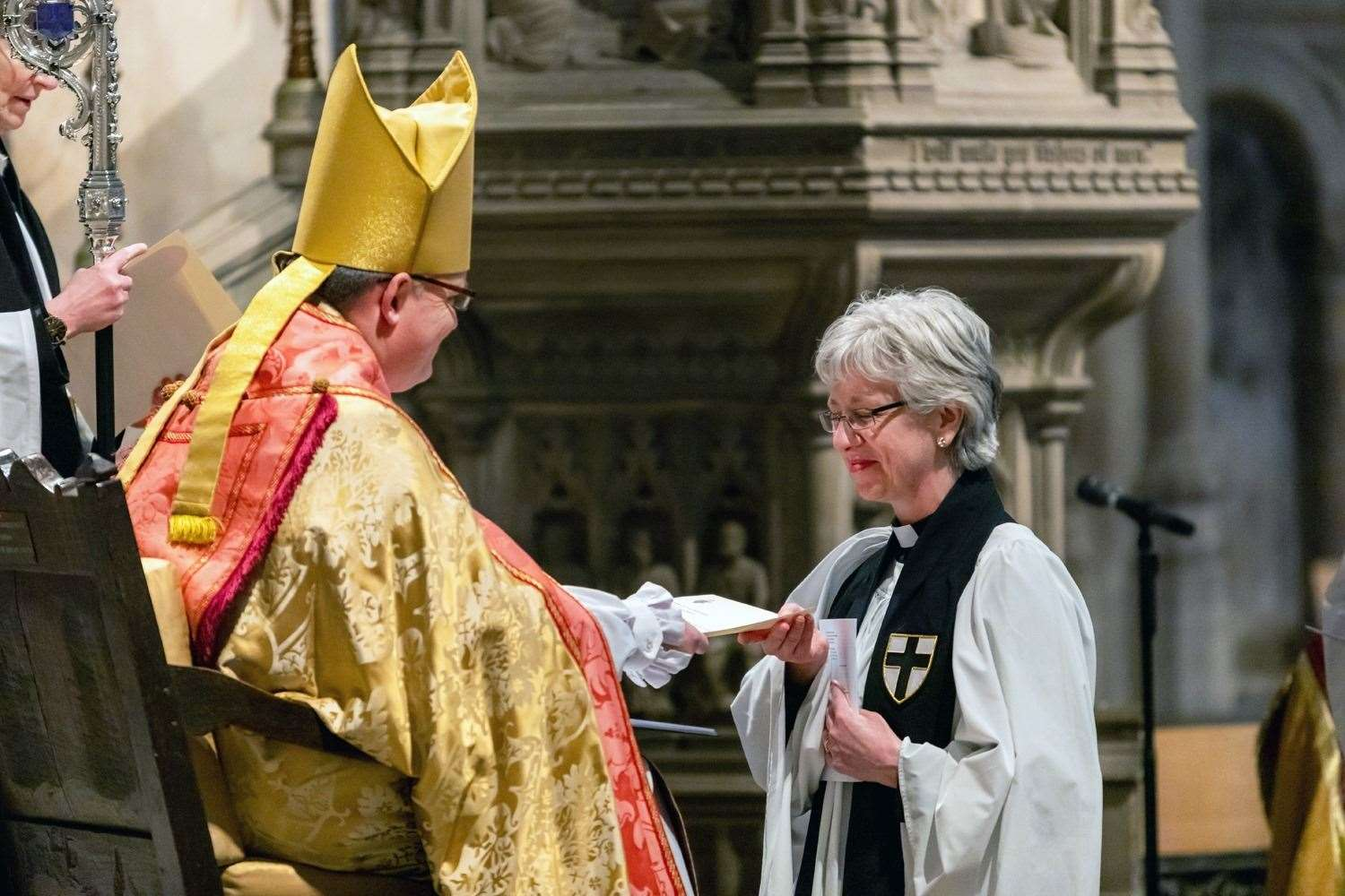 The Rev Julie Boyd, being installed as a Honorary Canon of Norwich Cathedral by the Bishop of Norwich in February
