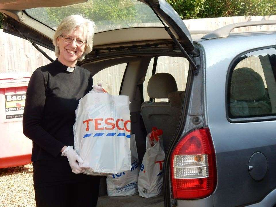 Revd Julie Boyd delivering essential items to vulnerable residents during the coronavirus lockdown. Picture: St Faith's