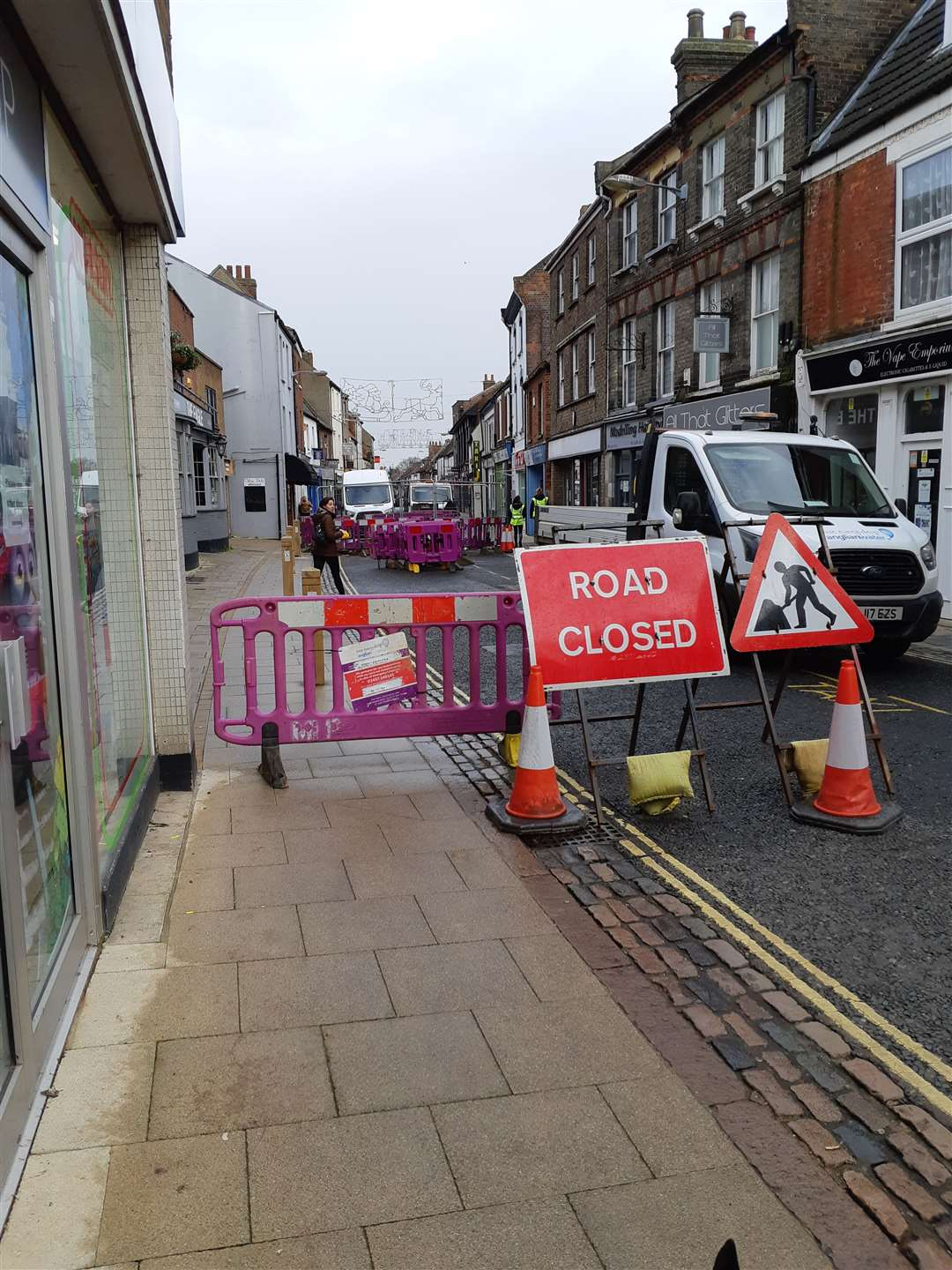 Norfolk Street in King's Lynn is currently closed due to a burst water main. Picture: SUBMITTED