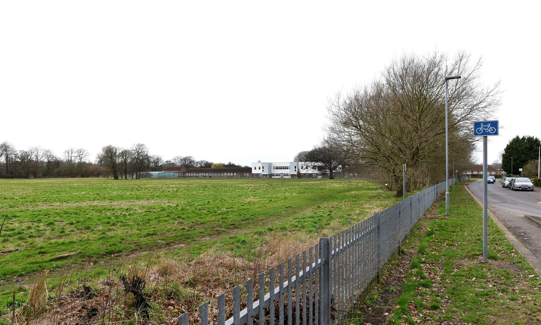 GV Picture of Land which is being Proposed for Possible New Housing Development for the Gaywood Area...Land between King's Lynn Academy Site (on right in pic) off Parkway Gaywood. (29878393)