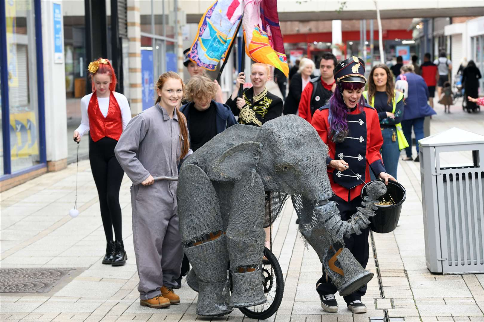 Lost in Translation Circus in Kings Lynn town centre..Pablo the walking baby elephant. (49784601)